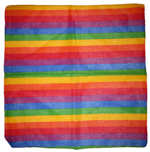"22""x22"" Rainbow Gay Pride Striped 100% Cotton Bandana - $6.88"