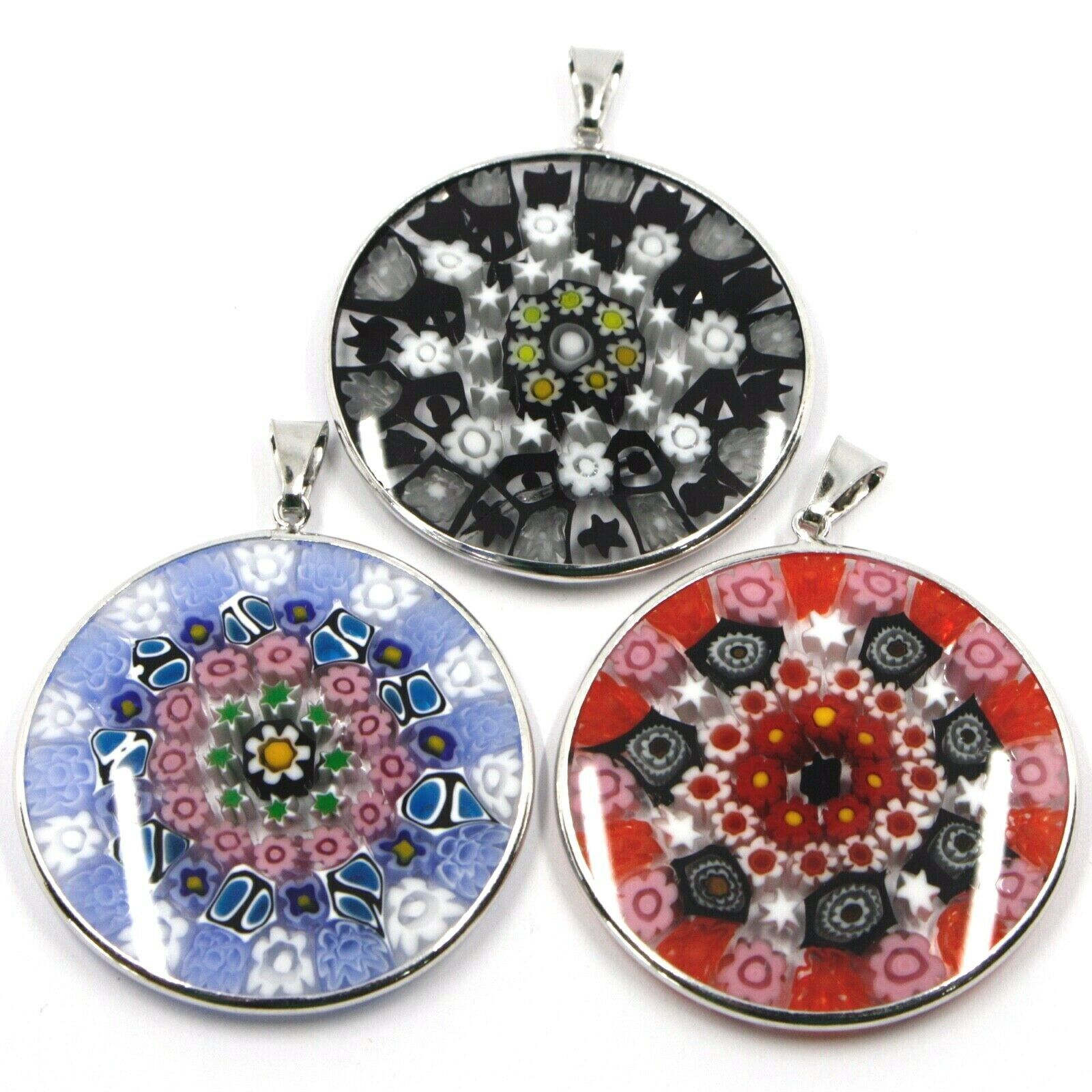 3 X 925 STERLING SILVER ROUND BIG 36mm PENDANT MURANO GLASS MULTICOLOR MURRINE