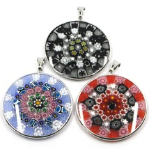 3 X 925 STERLING SILVER ROUND BIG 36mm PENDANT MURANO GLASS MULTICOLOR MURRINE image 1