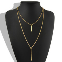 Women Fashion Gold Plated Long Sweater Chain Cute Vertical Bar Pendant N... - $9.89