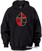 San Francisco 49ers Vintage Style Logo Black Hoodie Sweater Red Gold Kae... - $37.74+