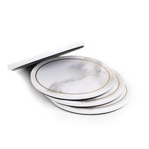Sugar & Cloth Coaster Set, Marble Melamine with Gold Trim, 8 Count - $48.66