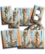 NAUTICAL ANCHOR RUSTIC WOOD LOOK LIGHT SWITCH OUTLET WALL PLATE ROOM HOME DECOR - $8.99