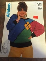 New Patons Knitting Pattern Women's Sweater Woolrich Beehive Chunky 8527 1987 - $7.74