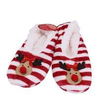 Women's 3 Pack Sherpa Lined Soft Christmas Holiday Reindeer Slippers Socks Shoes image 3