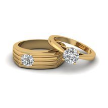 14k Yellow Gold Over His & Her Matching Couple Band Ring Set Round Cut White CZ - $90.25