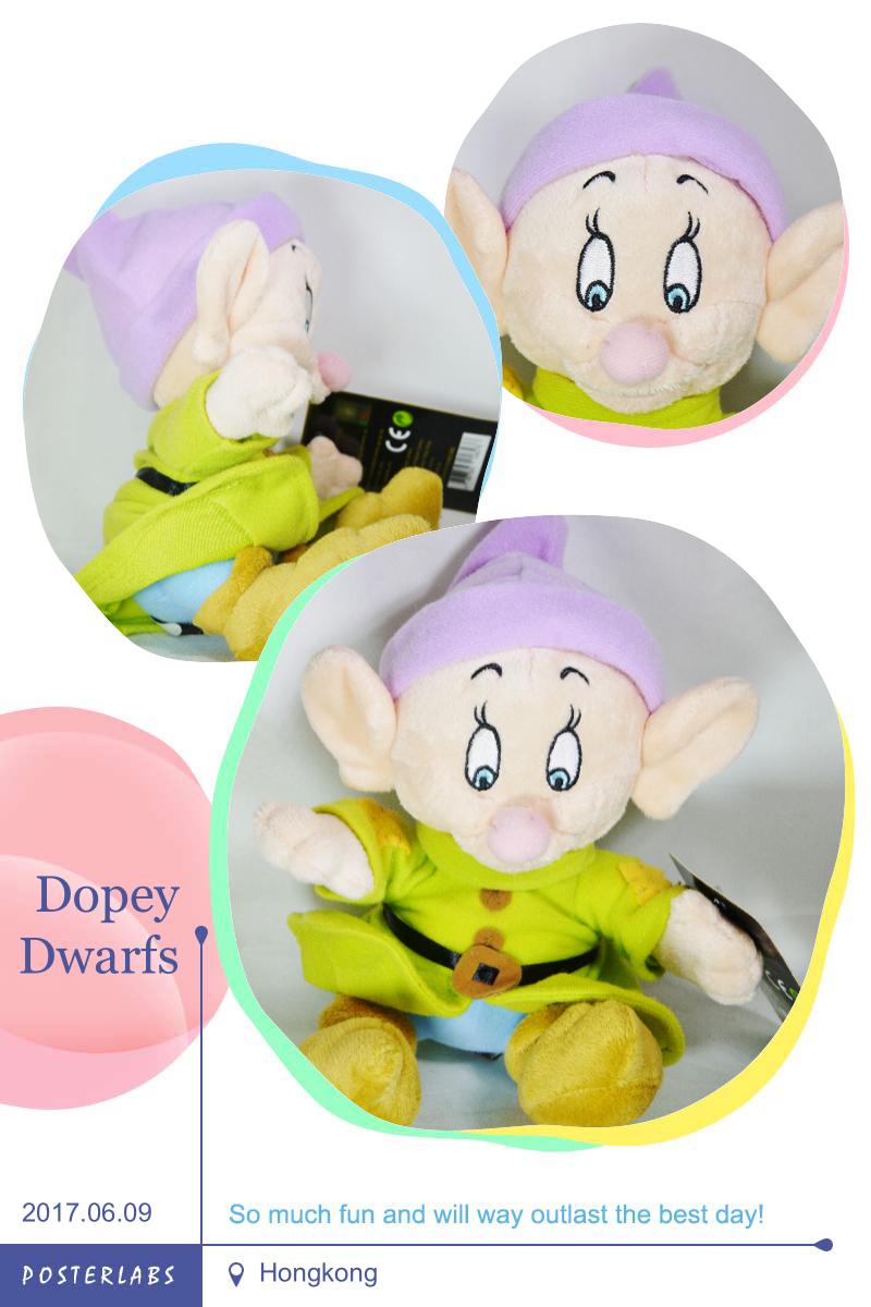 Disney Classic SNOW WHITE & 7 DWARFS Dopey Plush Toy Small Size