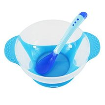 Baby Suction Bowl/ Feeding Bowl And Spoon Set, Blue - $15.29