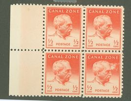 1948 George Davis Block of 4 Canal Zone Postage Stamps Catalog Number 136 MNH
