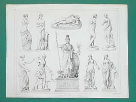 GREEK SCULPTURE Art Pallas Venus DIana Huntress Eros - 1844 Antique Print - $22.46
