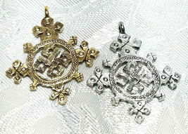 Coptic Cross FINE PEWTER PENDANT CHARM 4mm L x 33mm W x 28mm D image 1
