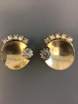 Vintage Goldtone Rhinestone Clip On Earrings Circular - $10.00