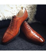 Handmade Men Fashion Genuine Leather Shoes brown leather oxford shoes - $144.99+