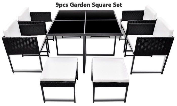 Primary image for Outdoor Rattan Cushioned Dining Set Garden Table Chairs Stools 9pcs Black Steel