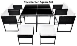 Outdoor Rattan Cushioned Dining Set Garden Table Chairs Stools 9pcs Blac... - $511.20