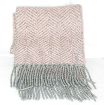 Super Soft LAUREN RALPH LAUREN Scarf Long Pink Gray Chevrons Fringed Coz... - $17.82