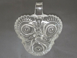 """Brilliant Clear Glass Divided Clover Nappy Bowl Candy Dish Hobstar ABP? 6"""" - $5.59"""