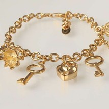 Bracelet en Argent 925 Feuille or avec Pendentifs By Maria Ielpo Fabriqu... - $186.79