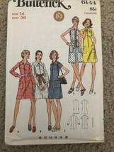 Vintage Butterick Pattern 6144 Zip Front Slightly A Line Day Dress 1960'... - $18.69