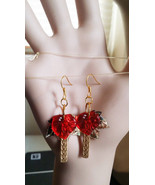 rED leaf drop earrings LONG dangles gold leaves charms sequins hook ear ... - $2.40
