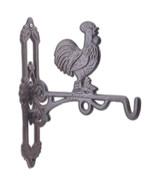"Crowing Rooster Cast Iron Plant Hanger Farm Flower Basket Hook 10.75"" Deep - $19.79"