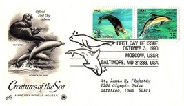 October 3, 1990 First Day of Issue, Postal Society Cover, Dolphin & Sea ... - $1.09