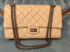 Chanel Classic 2.55 Reissue 226 Quilted Beige Ruthenium HW Flap Bag - $4,143.15