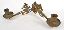 Brass Candle Wall Sconce 2 Swing Arm Art Nouveau Fixture Holder - $79.20