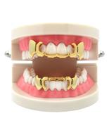New Custom 14k Gold Plated Hip Hop Teeth Grillz Top & Bottom GrillZ Fang... - $9.85+