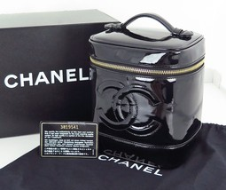 Authentic CHANEL Black Patent Leather Cosmetics... - $379.00