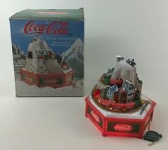 Enesco Coca-Cola Music Box Light Up with 2 Trains Vintage 1992 White Chr... - $39.55