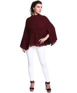 Fashion Womens Solid Acrylic Burgundy Shrug wool Ribbed Poncho Cape  - $30.00