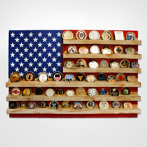 USA FLAG RED WHITE AND BLUE  CHALLENGE COIN WOOD  DISPLAY STAND RACK - $189.99