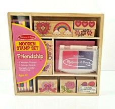 Melissa and Doug Friendship Stamp Set Wooden in Storage Box Arts & Craft... - $11.99