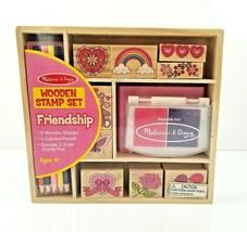 Melissa and Doug Friendship Stamp Set Wooden in Storage Box Arts & Craft... - $11.99