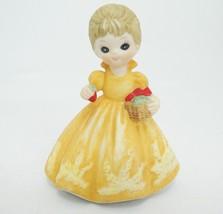 "George Good Girl with Strawberries Porcelain Figurine Orange Dress 3.5"" ... - $9.89"
