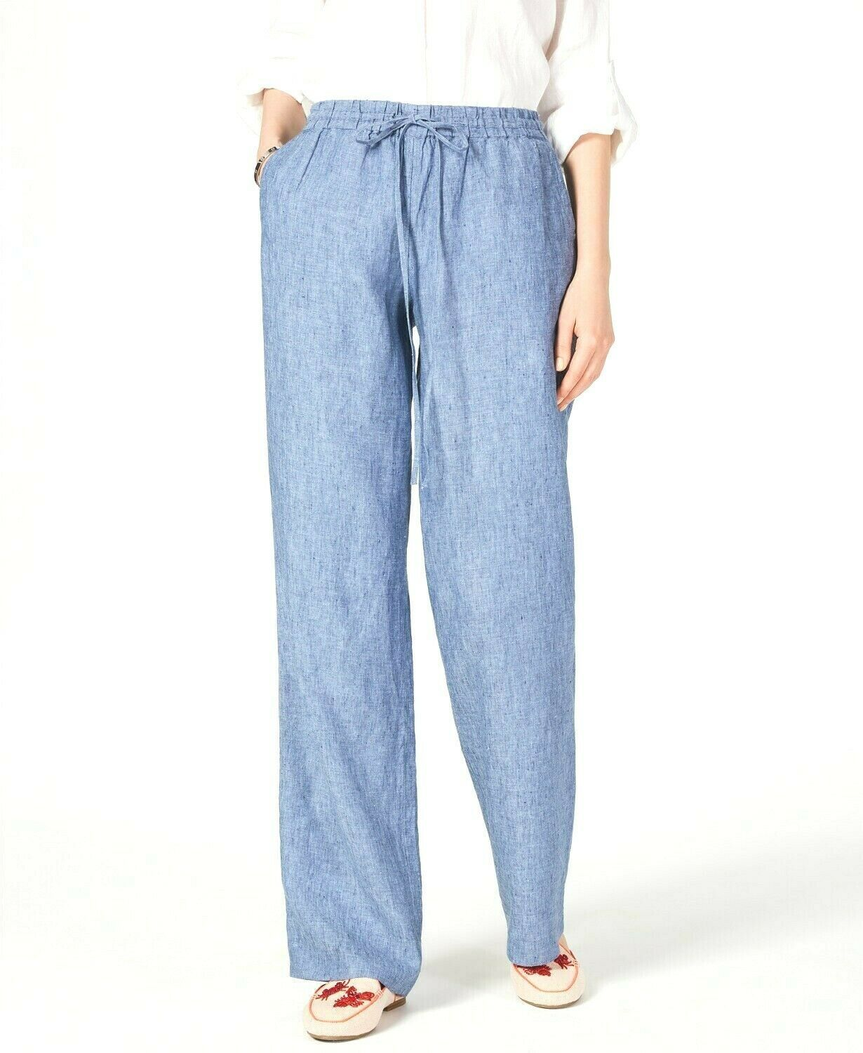 Primary image for Charter Club NEW Women's Linen Drawstring-Waist Pants Blue Ocean $69 Size XS & S