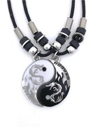Dragon Yin Yang 2 Pewter Pendant Necklaces Set Matching Pendant Black An... - $34.15