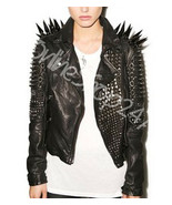 Woman Handmade Full Black Long Spiked Studded Punk Rock  Biker Leather J... - $329.99