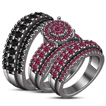 His & Her Engagement Ring Trio Set Pink Sapphire Black Gold Finish 925 Silver - $146.19