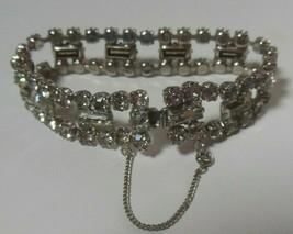 Vintage Signed KRAMER of New York Clear Rhinestone & Baguette Bracelet W/Safety - $45.00