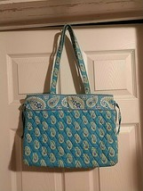 Vera Bradley Rare Retired Bermuda Blue Pattern Large Handbag - $14.85
