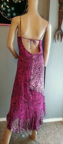 Vintage 27.4ms Betsey Johnson Ny Seda Rosa Negro Cebra Estampado Leopardo Grunge