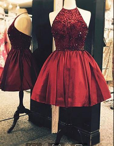 Cute burgundy beaded short prom dresses, homecoming dresses,PD2065