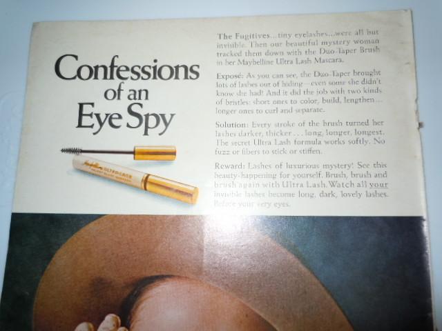 Vintage Maybelline Confession of an Eye Spy Print Magazine Advertisement 1971
