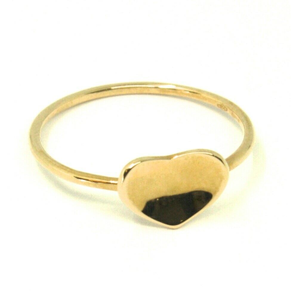 SOLID 18K YELLOW GOLD HEART RING, ONDULATE, BENT SMOOTH HEART, MADE IN ITALY