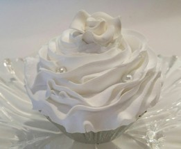 White Fake Cupcake  with White Pearls & Rose Cupcake  Decoraton DeziCakes - $8.41