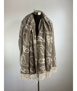 Mater Materiae Womens Scarf Beige Brown Black Paisley Made in Italy - $98.99