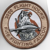 """4"""" Air Force F-16 3000 Hours Fighting Falcon Desert Hook Loop Embroidered Patch - $18.99"""