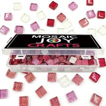 MosaicTiles for Crafts Red Assorted Color 320 Pieces Pink Glass Glitter ... - $18.24